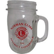 Lions International Clear Glass Mug Norman Clark for District Governor