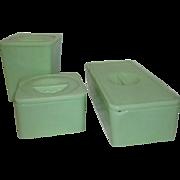 Set of Three Lidded Jadite Containers