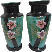 Pair of Victorian Bristol Hand Painted Mirror Image Mantle Vases