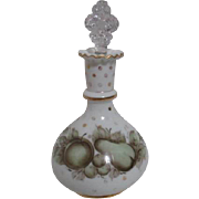 White Fenton Cologne Bottle with Original Stopper Hand Painted with Charleton Fruit
