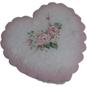 Fenton Milk Glass Heartshaped Box Roses and Pink Edging