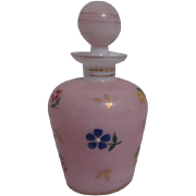 White Encased with Pink Glass Perfume Bottle with Hand Painted Flowers