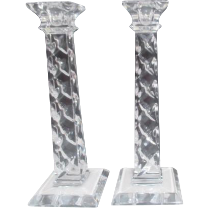 "Pair of 10"" High Crystal Square Candle Holders Made in Slovenia"