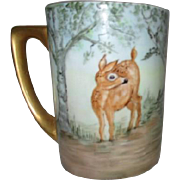 Hand Painted Mug with Deer and Gold Trim by Markin