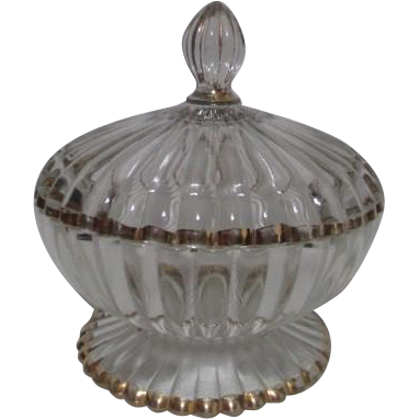 Clear Glass Ribbed Footed Covered Candy Dish with Gold Trim
