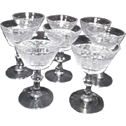 Set of 8 Duncan Miller Sandwich Pattern Champagne Goblets