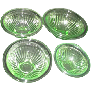 Set of 4 Graduated Florescent Uranium Green Depression Glass MIxing Bowls