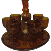 Indiana Glass Amber Tiara Decanter Set 7 Goblets Tray and Decanter Sandwich Pattern