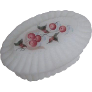 Fenton White Satin Hand Painted Footed Trinket Box