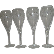 Set of 4 Princess House Champagne Flutes Heritage Pattern