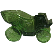 Small Green Glass Novelty Vintage Auto Ashtray with Striker