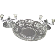 Elegant Etched Fostoria Matching Bowl and Candle Holders