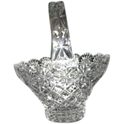 Pressed Glass Basket with Star and Quilted Pattern