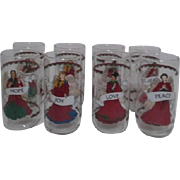 Set of 8 Glasses with Angels of Love, Joy, Hope and Peace