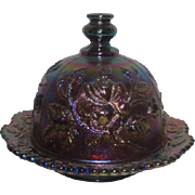 Imperial Glass Company Luster Rose  Covered Butter Dish Blue Luster