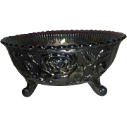 Imperial Glass Company Luster Rose  Footed Bowl Fernery Blue Luster