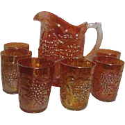 Imperial Grape Marigold Pitcher & 6 Glasses Carnival Glass