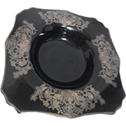 "Black Glass Bowl with Sterling Overlay Design 12"" Across"