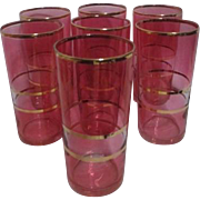 Federal Glass Pink Tumblers with Gold Trim Set of 7