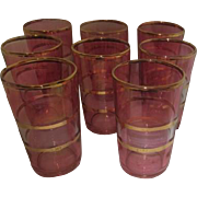 Set of 8 Federal Glass Pink Juice Glasses with Gold Trim