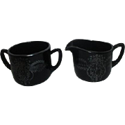 Black Glass with Sterling Overlay Cream and Sugar Set