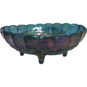 Indiana Glass Blue Iridescent Footed Harvest Pattern Fruit Bowl