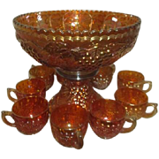 Imperial Glass Grape Cluster Marigold Carnival Glass Footed Punch Bowl and 11+ Cups