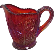 Indiana Glass Carnival Glass Sun Burst Red Creamer Pitcher