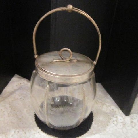 Vintage Clear Glass Candy Jar with Silver Plated Lid and Handle