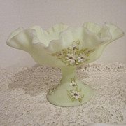 Vintage Fenton Custard Satin Hand Painted Ruffled edge Candy Dish Painted by K. Brunny