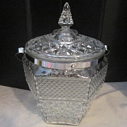 Vintage Glass Ice Bucket with Handle and Lid
