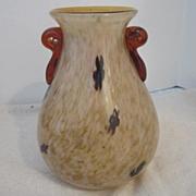 Vintage Art Glass Vase with Handles