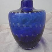 Vintage Royal Blue Art Glass Vase with Graduated Bubbles