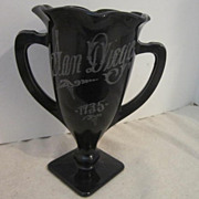 Vintage Glass Black/Amethyst Loving Cup from San Diego 1935 Exposition
