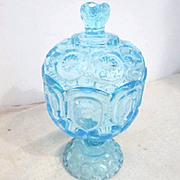 Vintage Moon & Stars Footed and Lidded Blue Compote Candy Dish