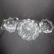 Vintage Clear Glass Covered Round Butter Dish, Sugar and Creamer