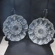 Vintage Pair of Clear Glass Patterned Egg Plates/Platters