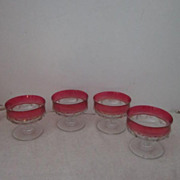 Vintage Kings Crown/Thumbprint Set of 4 Footed Ruby Red Flash Glass