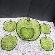 Anchor Hocking Emerald Green Apple Set Salad/Dessert Bowls