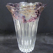 Clear Glass Vase with Colored Grapes and Leaves