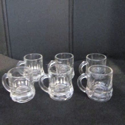 Set of 6 Federal Glass Miniature Shot Glass Mugs