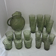 Anchor Hocking Avocado Green Soreno Set of Pitcher and 17 Glasses 3 Sizes