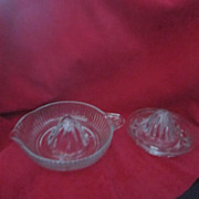 Vintage Pair of Clear Glass Citrus Juicers