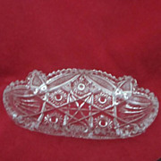 Cut Glass Relish Dish with Star Patterns