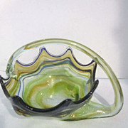 Blown Art Glass Basket in Shades of Green and Russet with Blue Lines