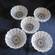 "Set of 5 Cut Glass 4"" Bowls"