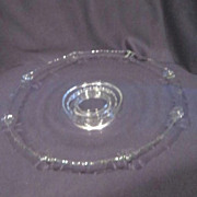 "Clear Glass Footed Serving Platter 13"" Across"