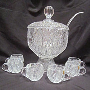 Crystal Footed  Punch Bowl with Lid and 12 Cups