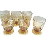 Vintage Fostoria Amber Thumbprint 6 Glasses