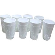 Set of 8 Milkglass Tumblers with Grape Clusters